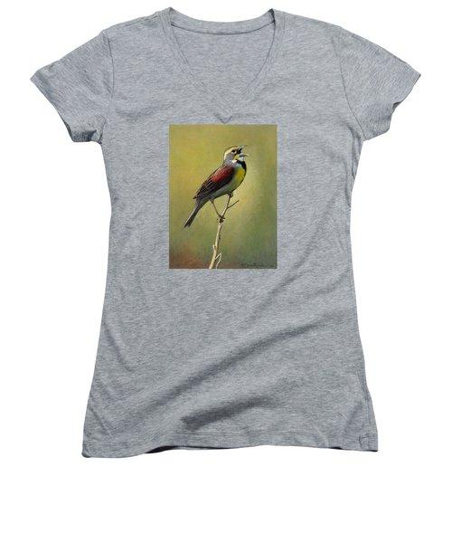 Dickcissel Summer Song Women's V-Neck T-Shirt (Junior Cut) by Bruce Morrison