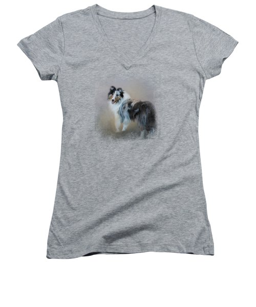 Did You Call Me - Blue Merle Shetland Sheepdog Women's V-Neck T-Shirt (Junior Cut) by Jai Johnson