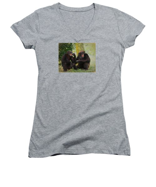 Women's V-Neck T-Shirt (Junior Cut) featuring the painting Did You See That by Judy Kay
