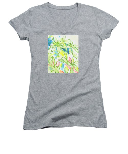 Different Coloured Hydrangea Leaves - Green Red Yellow Women's V-Neck T-Shirt