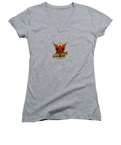 Winged Woman Initial Y Women's V-Neck (Athletic Fit)