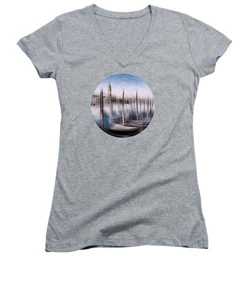 Digital-art Venice Grand Canal And St Mark's Campanile Women's V-Neck T-Shirt (Junior Cut) by Melanie Viola