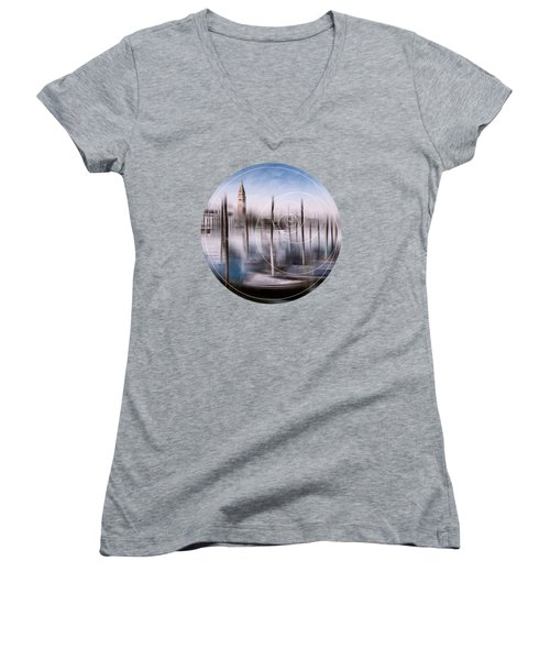 Digital-art Venice Grand Canal And St Mark's Campanile Women's V-Neck (Athletic Fit)