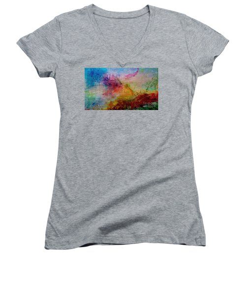 1a Abstract Expressionism Digital Painting Women's V-Neck
