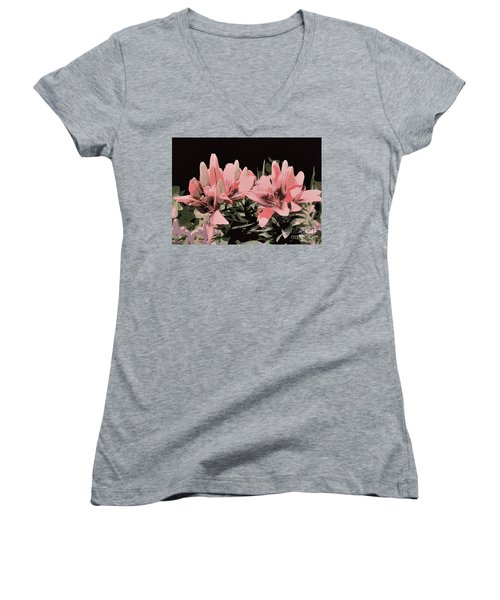 Digitalized Lilies Women's V-Neck (Athletic Fit)
