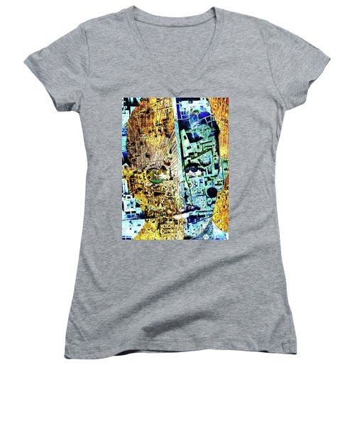 Women's V-Neck T-Shirt (Junior Cut) featuring the painting Dillinger by Tony Rubino