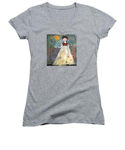 Dining By Midnight  Women's V-Neck T-Shirt (Junior Cut) by Sharon Furner