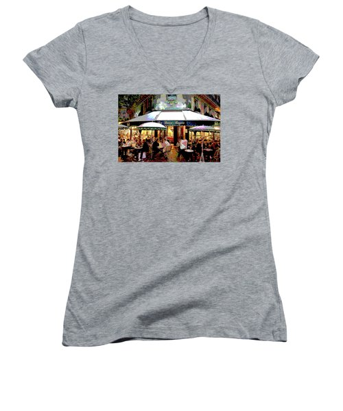 Dining Out Women's V-Neck T-Shirt (Junior Cut) by Charles Shoup