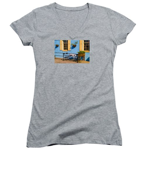 Dining Out Women's V-Neck T-Shirt (Junior Cut) by Denis Lemay