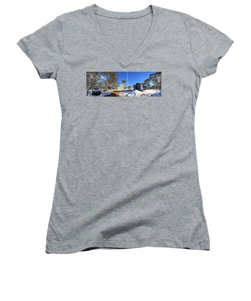 Dinner Plain Cfa Women's V-Neck T-Shirt (Junior Cut) by Bill Robinson