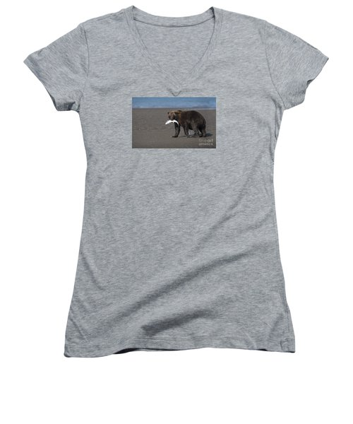 Women's V-Neck T-Shirt (Junior Cut) featuring the photograph Dinner Time by Sandra Bronstein