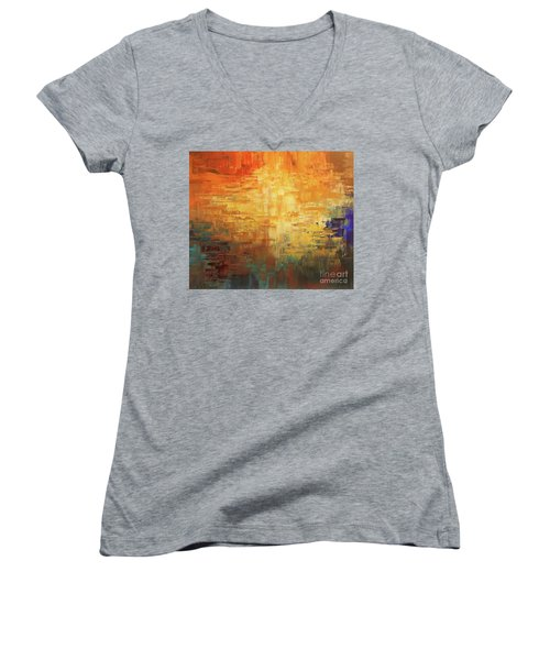 Women's V-Neck T-Shirt (Junior Cut) featuring the painting Dinosaur Lowlands by Tatiana Iliina