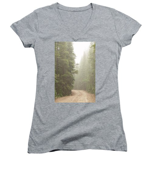 Women's V-Neck T-Shirt featuring the photograph Dirt Road Challenge Into The Mist by James BO Insogna