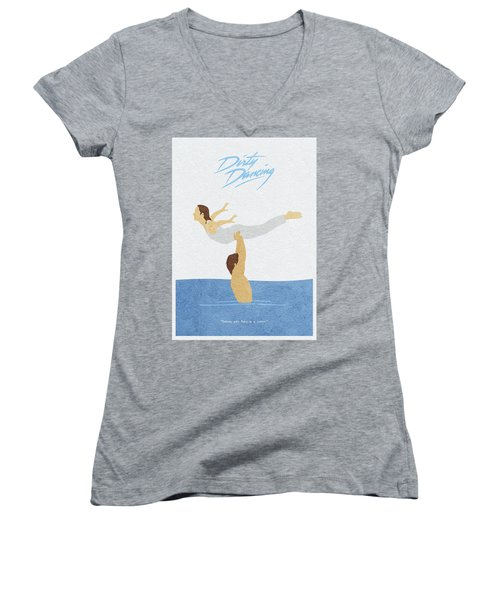 Women's V-Neck T-Shirt featuring the painting Dirty Dancing by Inspirowl