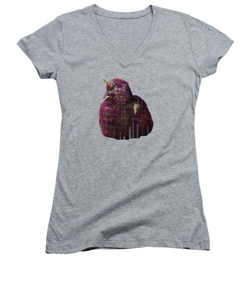 Disco Pigeon Unicorn Women's V-Neck T-Shirt (Junior Cut) by Tatiana Kotelnikova