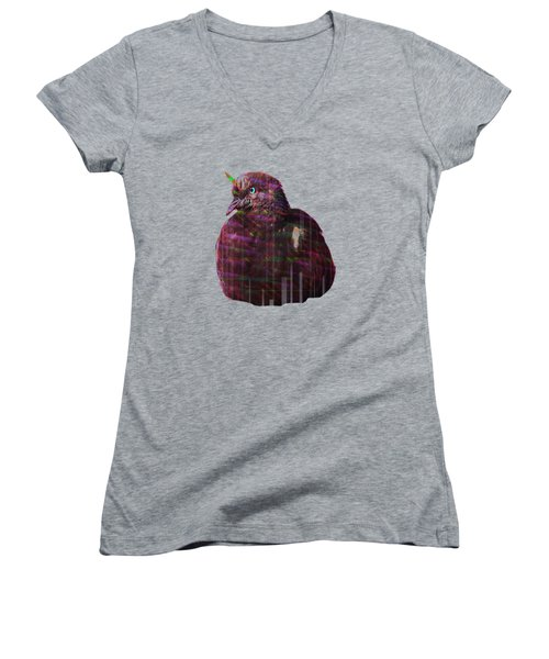 Disco Pigeon Unicorn Women's V-Neck T-Shirt