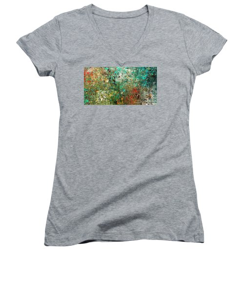 Women's V-Neck T-Shirt (Junior Cut) featuring the painting Discovery - Abstract Art by Carmen Guedez