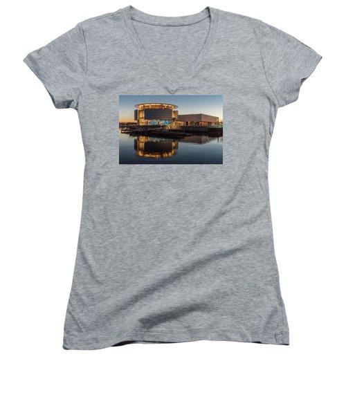 Discovery World Women's V-Neck T-Shirt (Junior Cut) by Randy Scherkenbach