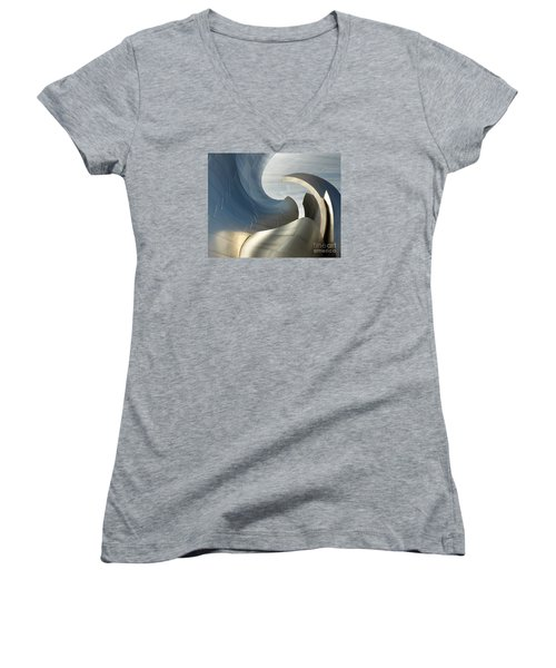 Disney Concert Hall Swirl Women's V-Neck T-Shirt (Junior Cut) by Cheryl Del Toro