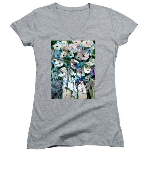 Women's V-Neck T-Shirt (Junior Cut) featuring the painting Disney Petunias by Mindy Newman