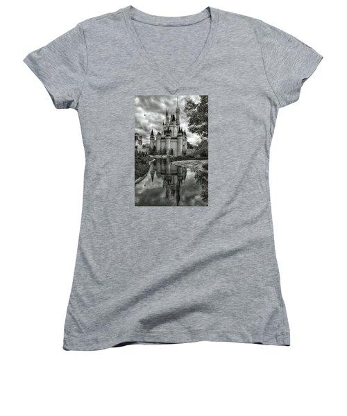 Disney Reflections Women's V-Neck T-Shirt (Junior Cut) by Nikki McInnes
