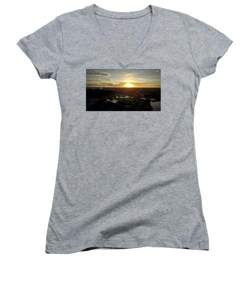 Women's V-Neck T-Shirt (Junior Cut) featuring the photograph Disney Sunset by Michael Albright