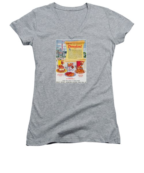 Disneyland And Aunt Jemima Pancakes  Women's V-Neck T-Shirt