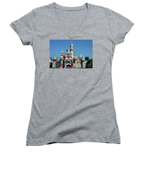 Women's V-Neck T-Shirt (Junior Cut) featuring the photograph Disneyland Castle by Mariola Bitner