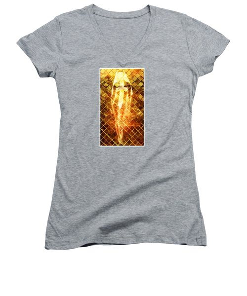 Women's V-Neck T-Shirt (Junior Cut) featuring the digital art Disrespectful Sister by Andrea Barbieri