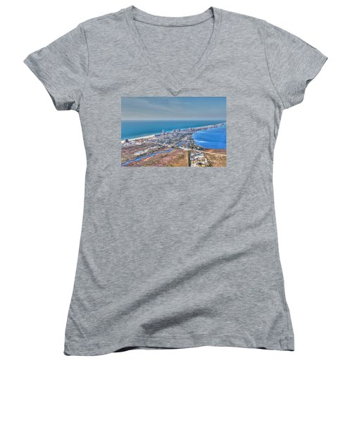 Distant Aerial View Of Gulf Shores Women's V-Neck