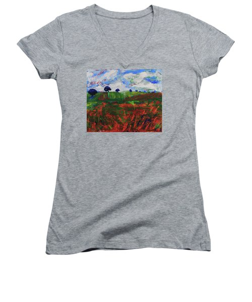 Women's V-Neck T-Shirt featuring the painting Distant Vineyards by Walter Fahmy
