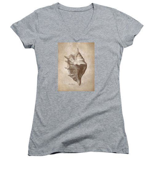 Women's V-Neck T-Shirt (Junior Cut) featuring the drawing Distressed Antique Nautical Seashell 1  by Karen Whitworth