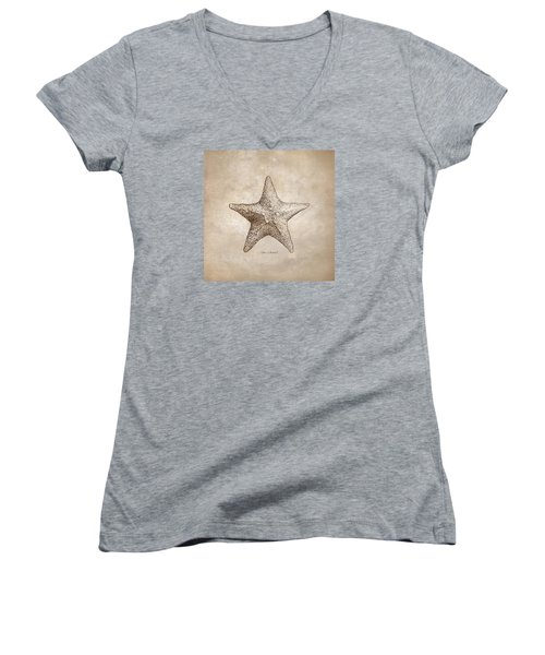Women's V-Neck T-Shirt (Junior Cut) featuring the drawing Distressed Antique Nautical Starfish by Karen Whitworth