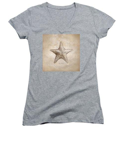 Distressed Antique Nautical Starfish Women's V-Neck
