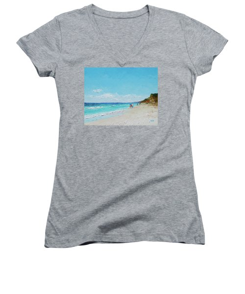 Ditch Plains Beach Montauk Hamptons Ny Women's V-Neck (Athletic Fit)