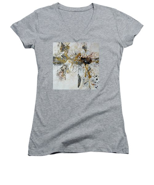 Women's V-Neck T-Shirt (Junior Cut) featuring the painting Diversity by Joanne Smoley