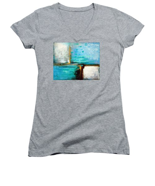 Women's V-Neck T-Shirt (Junior Cut) featuring the painting Divided Loyalties by Suzanne McKee