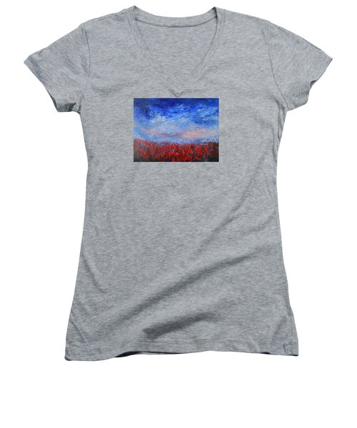 Women's V-Neck T-Shirt (Junior Cut) featuring the painting Divine Red by Jane See