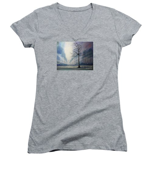 Women's V-Neck T-Shirt (Junior Cut) featuring the painting Divine Serenity by Stacey Zimmerman