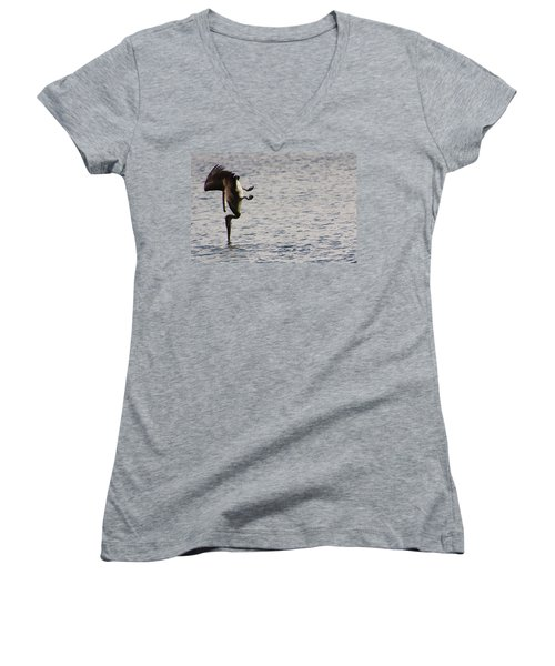 Women's V-Neck T-Shirt (Junior Cut) featuring the photograph Diving Pelican by Laurel Talabere