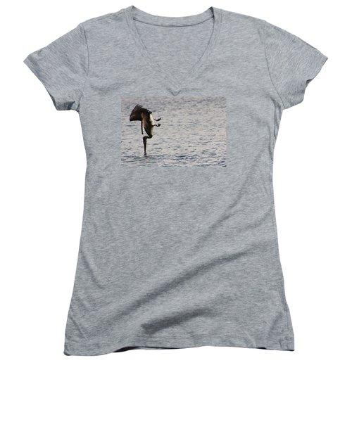 Diving Pelican Women's V-Neck T-Shirt