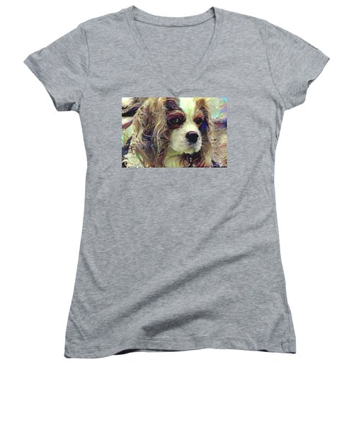 Dixie The King Charles Spaniel Women's V-Neck