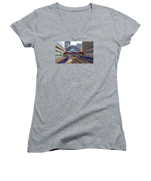 Dlr Canary Wharf And Approaching Train Women's V-Neck T-Shirt (Junior Cut) by Venetia Featherstone-Witty