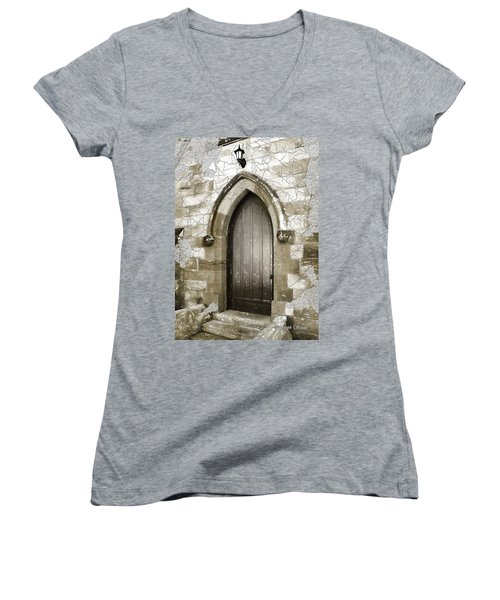 Women's V-Neck T-Shirt (Junior Cut) featuring the photograph Do-00055 Chapels Door In Morpeth Village by Digital Oil