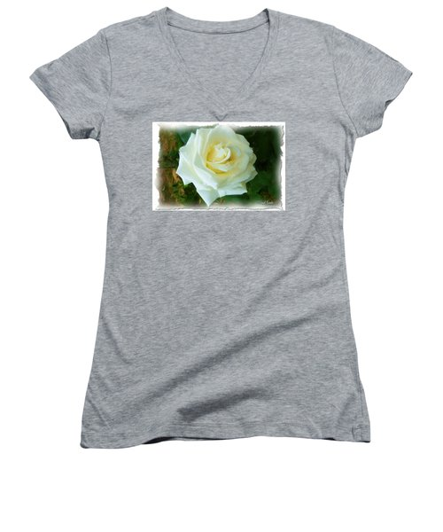 Women's V-Neck T-Shirt (Junior Cut) featuring the photograph Do-00300 La Rose De Aaraya by Digital Oil