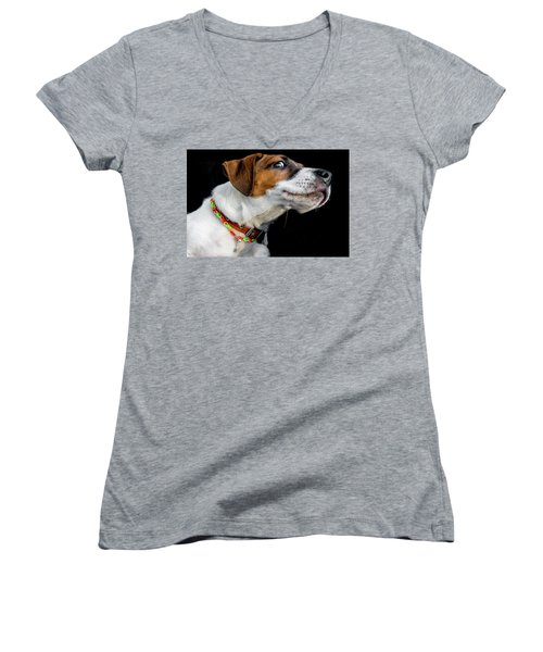 Do Not Confuse Me Women's V-Neck T-Shirt (Junior Cut) by Alex Galkin