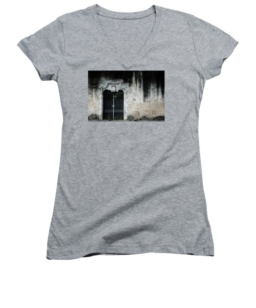 Women's V-Neck T-Shirt (Junior Cut) featuring the photograph Do Not Enter by Marco Oliveira