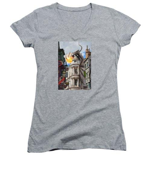 Do Not Enter Women's V-Neck T-Shirt (Junior Cut) by Nikki McInnes