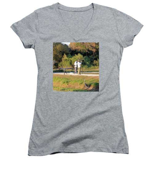 Women's V-Neck T-Shirt (Junior Cut) featuring the photograph Do You See Any Birds? by Rosalie Scanlon