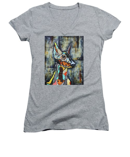 Doberman Pinscher Women's V-Neck T-Shirt (Junior Cut) by Patricia Lintner